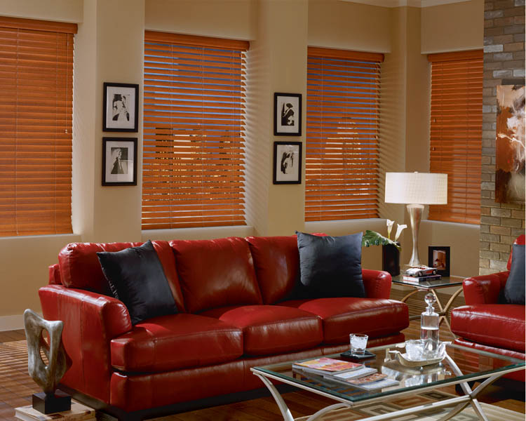 Custom Wood Blinds in Living Room